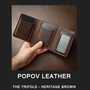 [Popov Leather] THE TRIFOLD - HERITAGE BROWN / Red 스티치