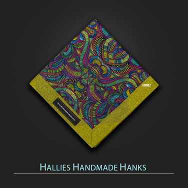 [Hallies Handmade Hanks]  Psychedelic Purple Green & Blue