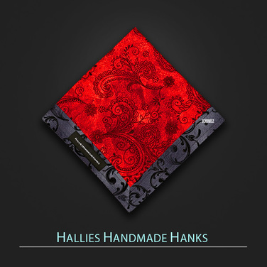 [Hallies Handmade Hanks]  Red & Gray Paisley