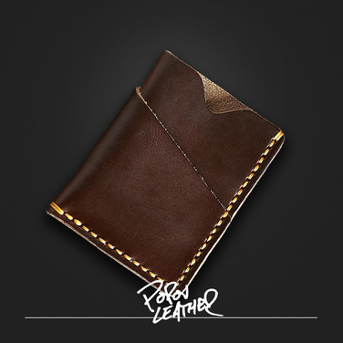 [Popov Leather] Card wallet - 쵸코렛 - Tan 스티치