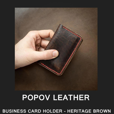 [Popov Leather] BUSINESS CARD HOLDER - HERITAGE BROWN / Red 스티치