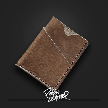 [Popov Leather] Card wallet - Driftwood - Brown 스티치
