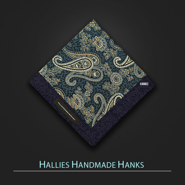 [Hallies Handmade Hanks] Blue & Gray, Navy Paisley