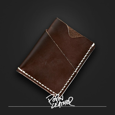 [Popov Leather] Card wallet - 쵸코렛 - Cream 스티치