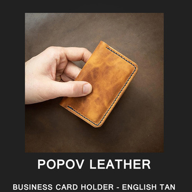 [Popov Leather] BUSINESS CARD HOLDER - ENGLISH TAN / Navy 스티치