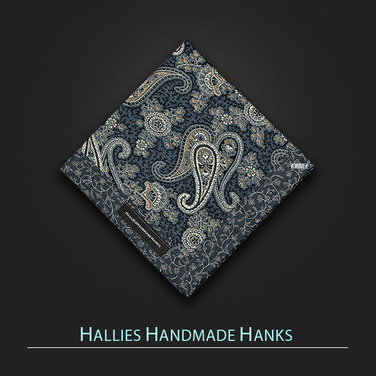 [Hallies Handmade Hanks]  Blue & Gray Paisley