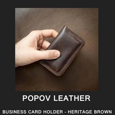[Popov Leather] BUSINESS CARD HOLDER - HERITAGE BROWN / Brown 스티치