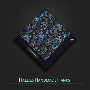 [Hallies Handmade Hanks]  Blue & Gray, Black  Paisley