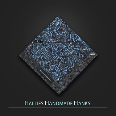 [Hallies Handmade Hanks]  MarineBlue & Gray Paisley
