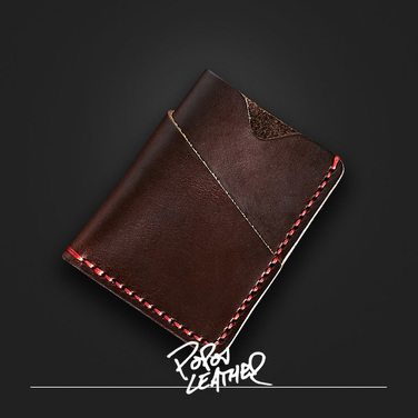 [Popov Leather] Card wallet - 쵸코렛 - Red 스티치